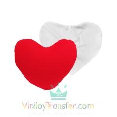 Funda de cojín de corazón blanco y rojo