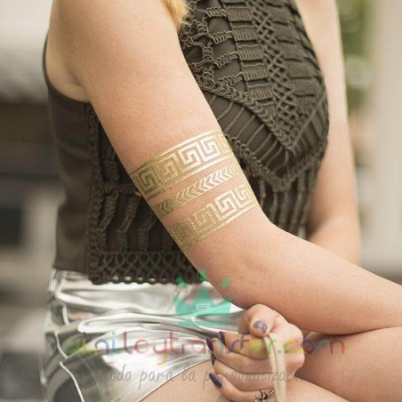 papel tatuajes silhouette oro