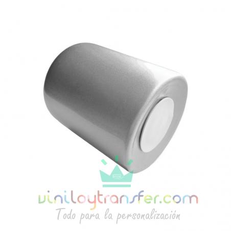 hucha de ceramica para sublimar de color gris plateado metalizada
