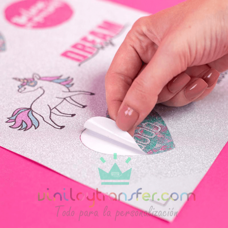 papel adhesivo imprimible glitter silhouette