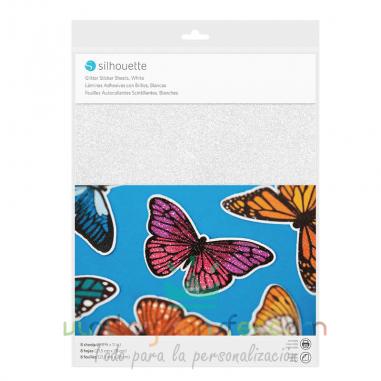 Papel adhesivo imprimible purpurina glitter blanco