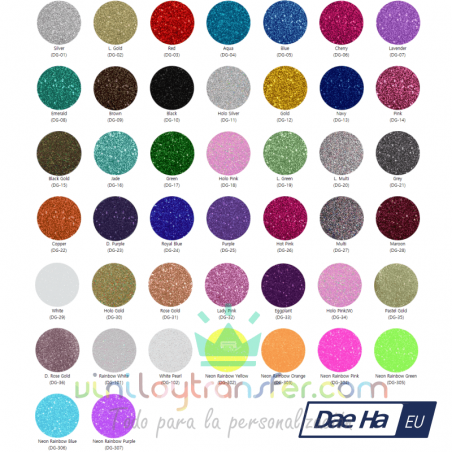 carta colores vinilo textil purpurina daeha
