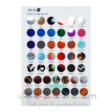 Carta de colores para Vinilo textil Daeha Premium Metalizado brillo
