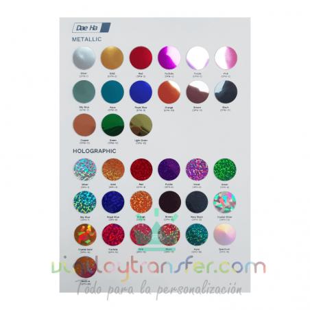 Carta de colores para Vinilos textiles Daeha Premium Efecto espejo y Holográfico