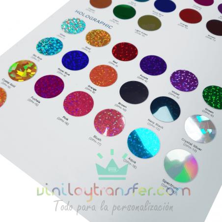 muestrario colores vinilo textil espejo y holografico